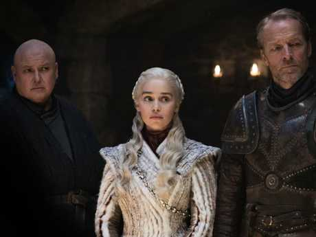 Staying alive? Conleth Hill as Varys, Emilia Clarke as Daenerys Targaryen and Iain Glen as Jorah Mormont in Game of Thrones. Picture: HBO