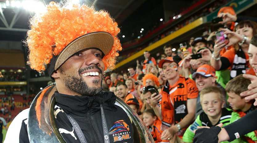 Henrique after Roar's win over the Western Sydney Wanderers in the 2014 A-League grand final. Picture: Jono Searle.