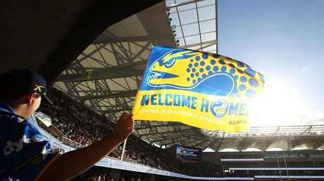 A happy Parramatta Eels supporter at the club's new home ground. (Photo by Mark Kolbe/Getty Images)