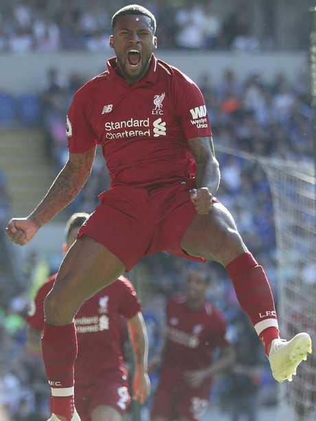 Liverpool's Georginio Wijnaldum celebrates giving his team the lead.