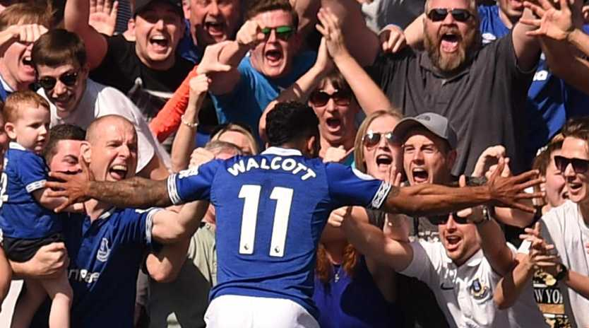 Everton's Theo Walcott celebrates scoring against Manchester United. Picture: AFP