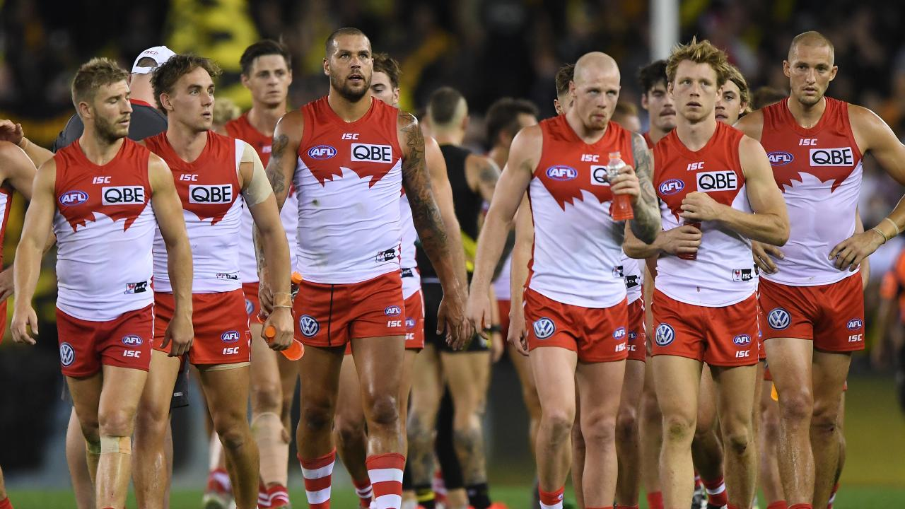 Sydney players after their loss to Richmond. Picture: AAP