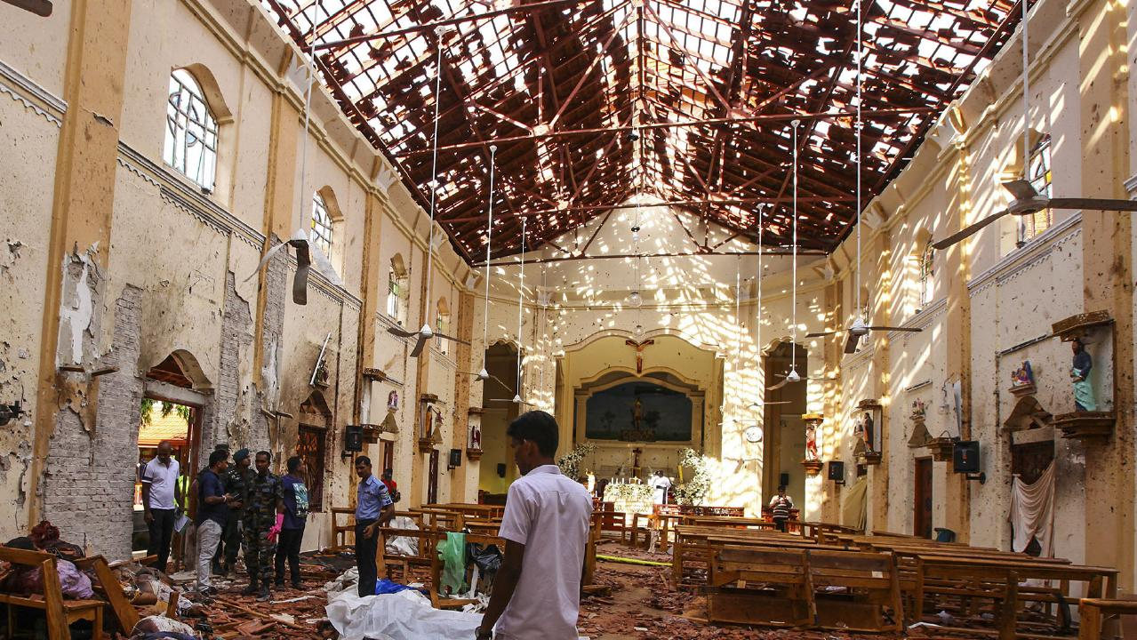 The devastating scene inside St. Sebastian's Church in Negombo, north of Colombo. Picture: AP
