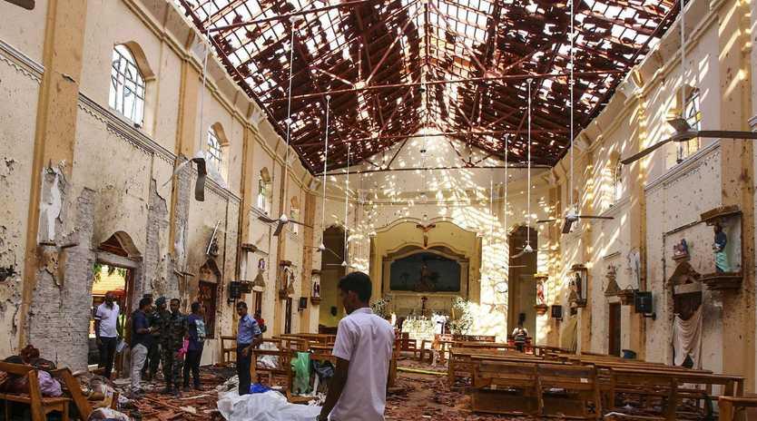 The devastating scene inside St. Sebastian's Church in Negombo, north of Colombo. Picture: AP