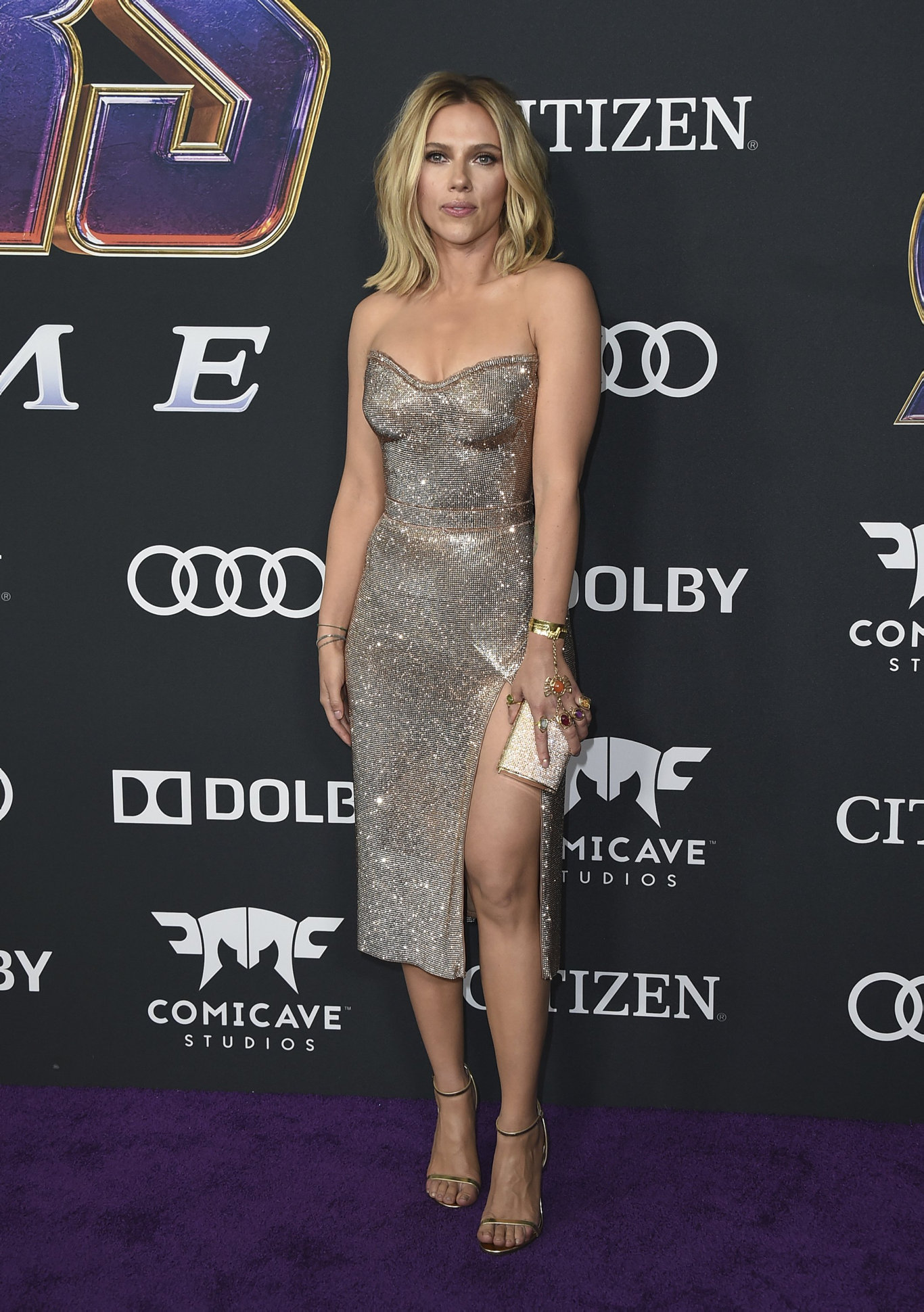 Scarlett Johansson arrives at the premiere of Avengers: Endgame at the Los Angeles Convention Center.