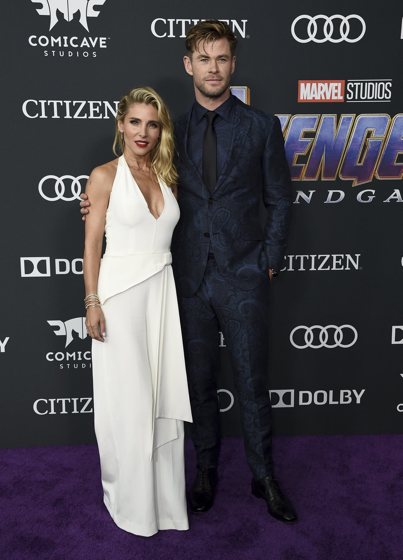 Elsa Pataky, left, and Chris Hemsworth arrive at the premiere of Avengers: Endgame at the Los Angeles Convention Center.