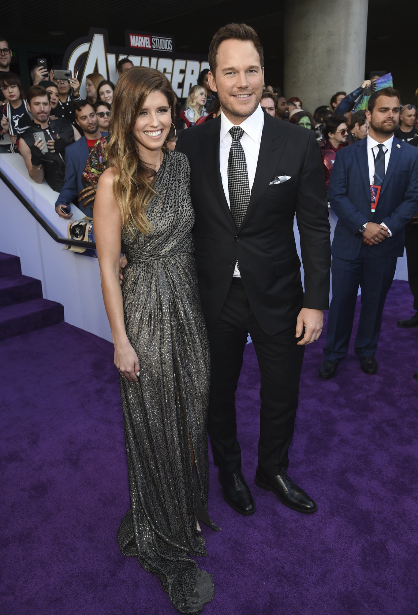 Katherine Schwarzenegger, left, and Chris Pratt arrive at the premiere of Avengers: Endgame at the Los Angeles Convention Center.
