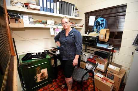 CASH TAKEN: Kabra Hotel publican Johanna Lidster surveys the damage to her office.