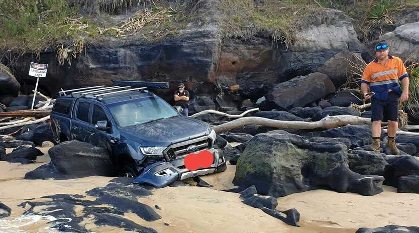 This Ford Ranger was the fourth vehicle to be towed by Rainbow Beach Towing & Roadside Assist over the Easter long weekend, and the only one that got stuck on the notorious Mudlo Rocks.