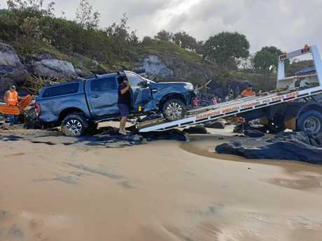 It was the fourth vehicle to be towed by Rainbow Beach Towing & Assist over the weekend.