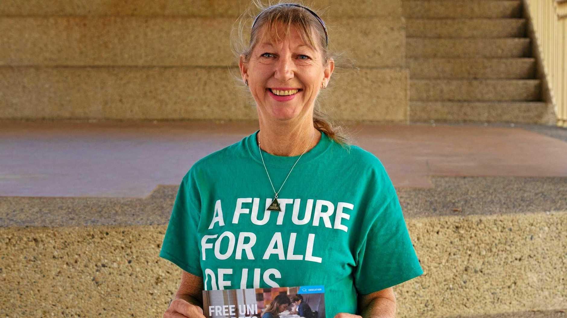 GREENS: Hinkler candidate Anne Jackson and Senator Larissa Waters spoke to residents in the Bundaberg CBD on Thursday.