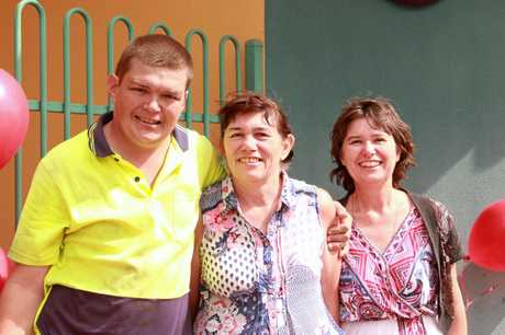 Tom Potts with mother Meg Calvert and Narelle Lowry.