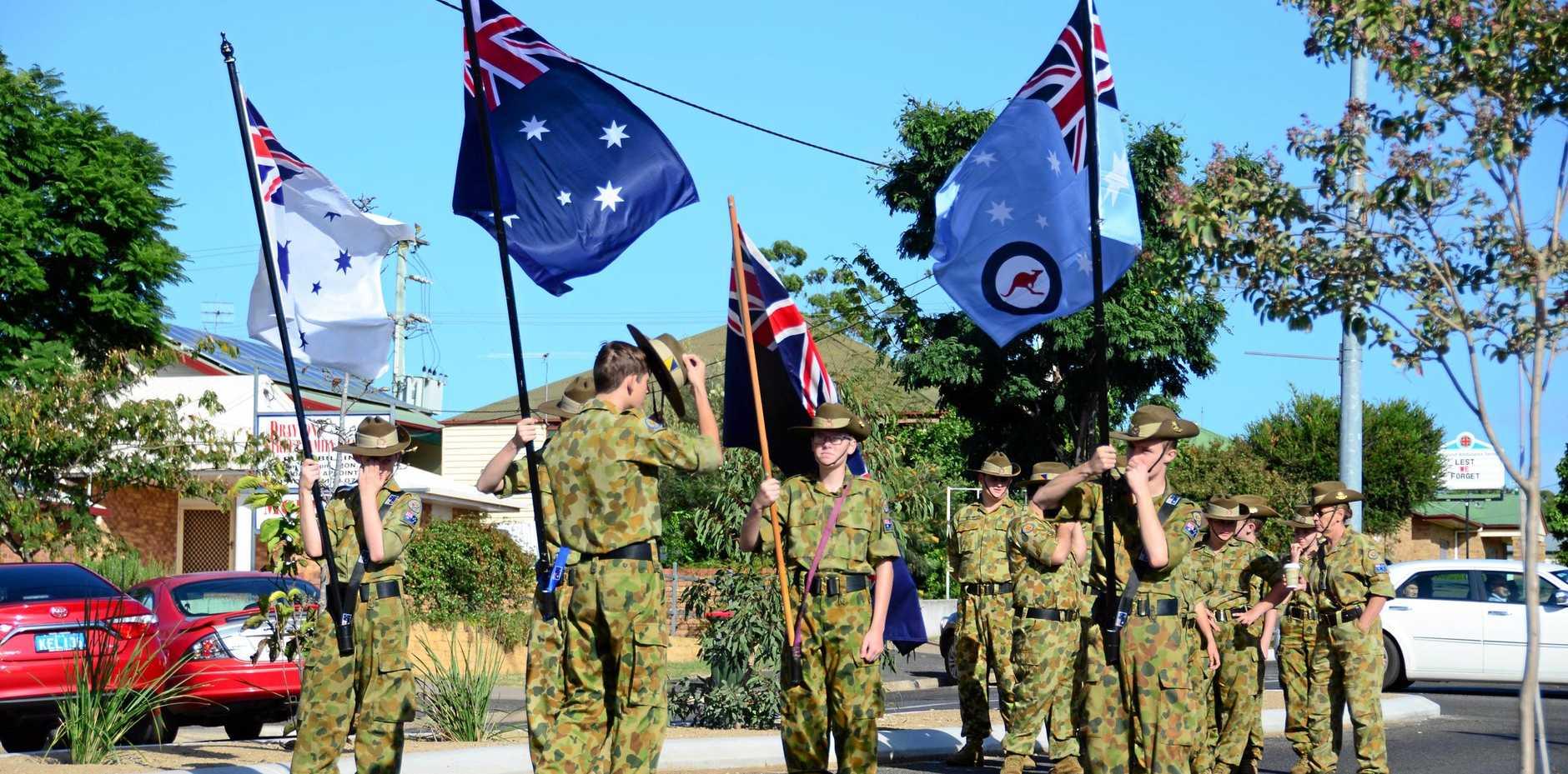 Army Cadet Nanango unit leading the 2016 Anzac Day march at Nanango. Photo Keagan Elder / South Burnett Times