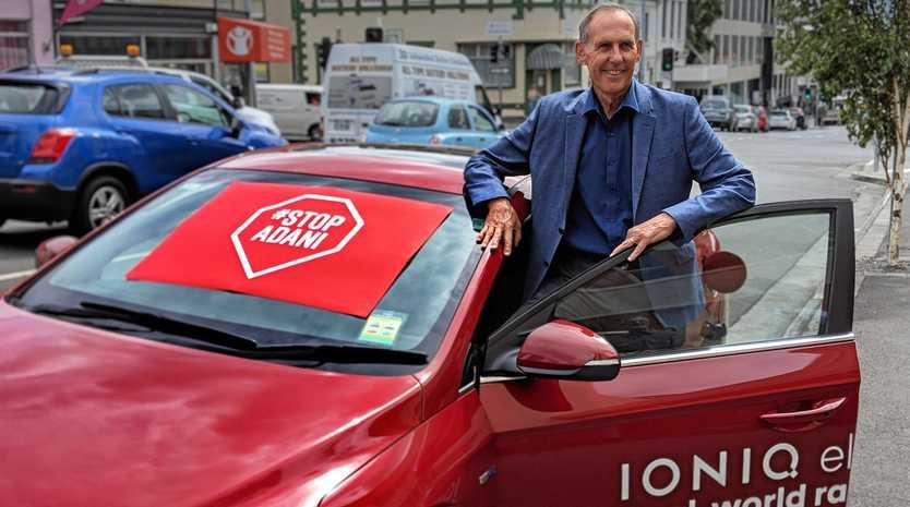 CONVOY: Bob Brown and his Stop Adani Convoy electric car.