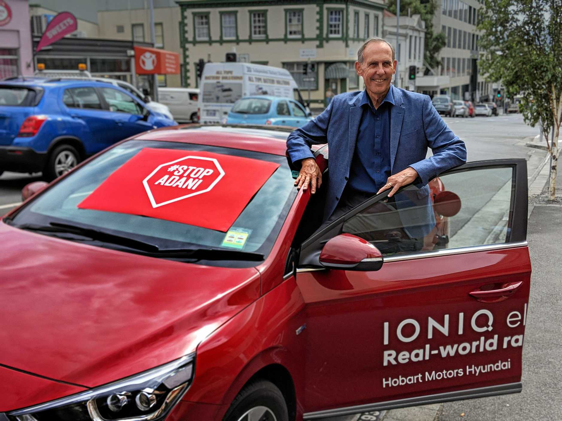 CONVOY: Bob Brown and his Stop Adani Convoy electric car.