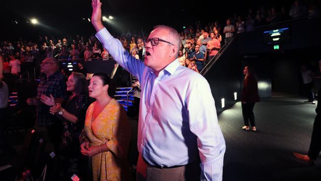Prime Minister Scott Morrison in church on Easter Sunday.