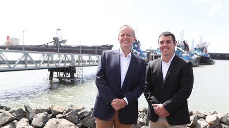 Opposition Leader Bill Shorten with Labor's candidate for Flynn Zac Beers in Gladstone. Picture: Kym Smith
