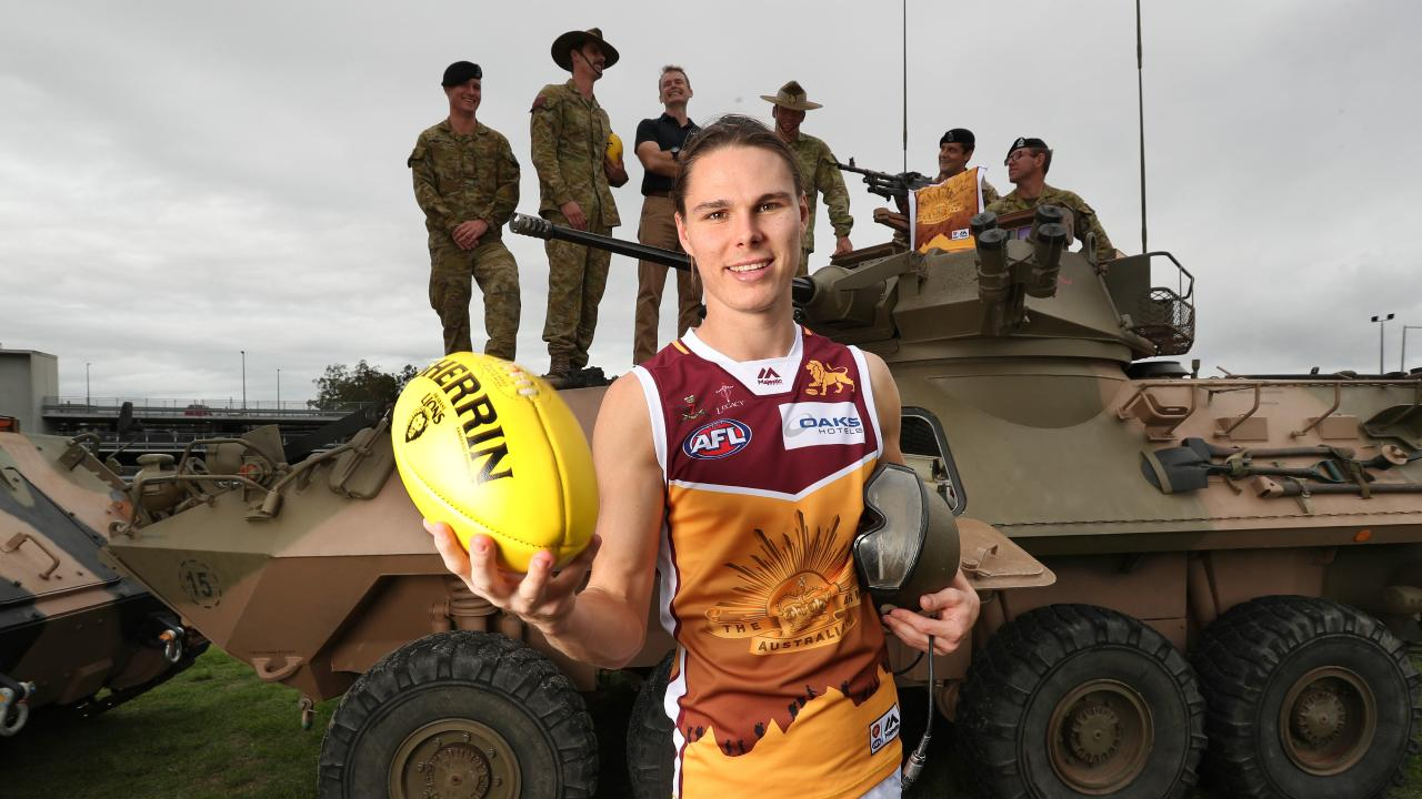 Eric Hipwood in the commemorative Anzac guernsey Brisbane will wear against Gold Coast. Picture: Annette Dew
