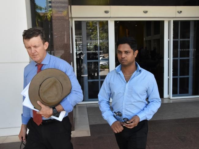 Keerthi Raja Eswaran, 34, leaves the NT Supreme Court with lawyer Peter Maley after pleading guilty to his latest batch of wildlife offending. Picture: Craig Dunlop