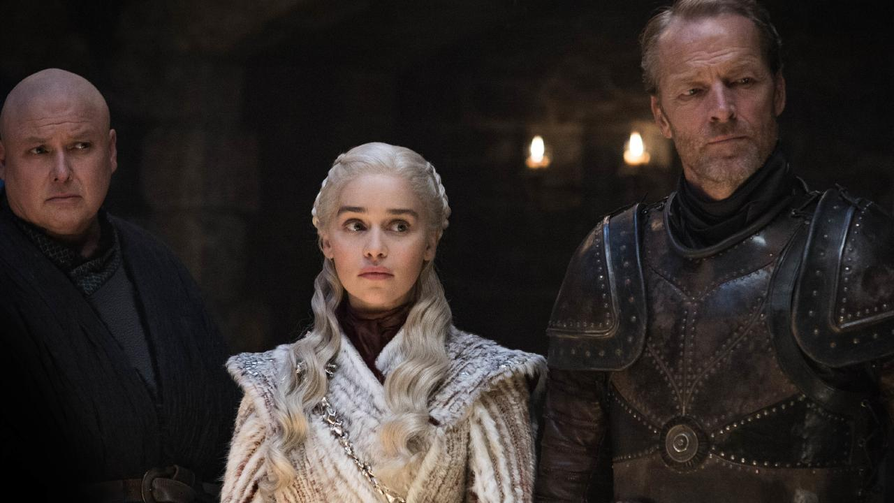 Varys, Dany and Jorah were joined by a very unexpected guest star. Picture: Helen Sloan/HBO via AP