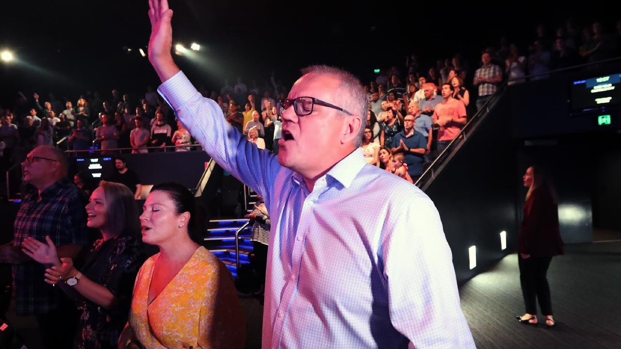 Scott Morrison at church on Sunday. Picture: Gary Ramage