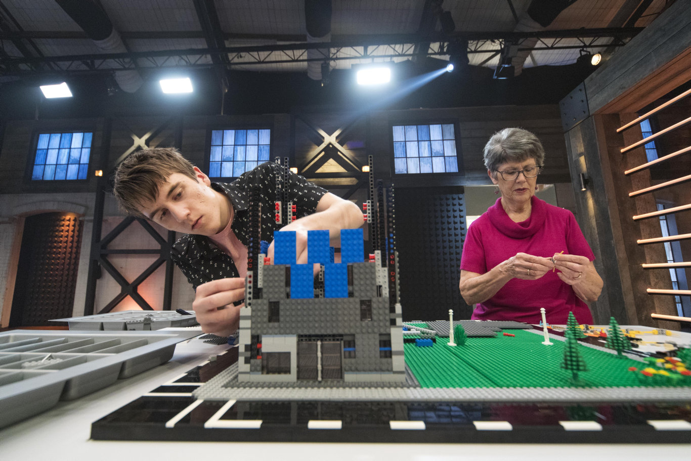 Matt and Lyn Cramb building during a challenge on Lego Masters. Supplied by Channel 9.
