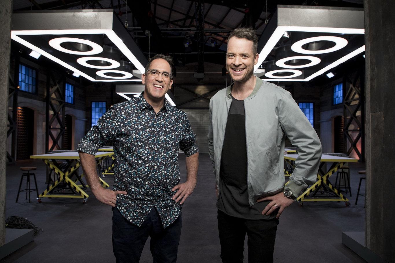 Matt and Lyn will need to impress judge Ryan 'Brickman' McNaught, pictured left with host Hamish Blake.
