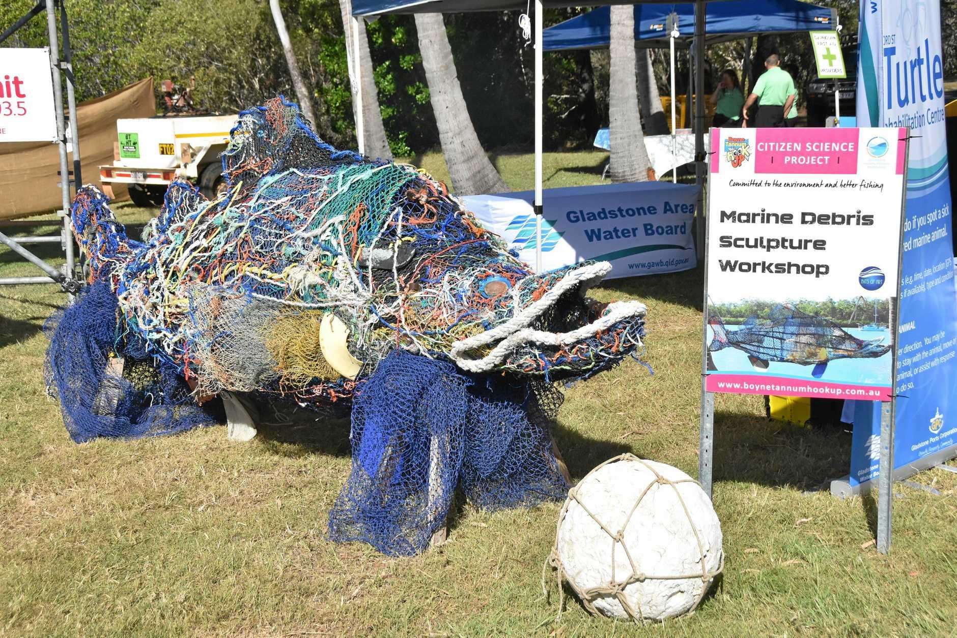 Christine Holden's marine debris sculpture - a 4.5m barramundi she made for the 2017 HookUp.