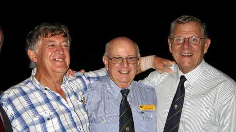 BROTHERS IN ARMS: John Skinner flanked by Jim Olive on the left and Steve Mackie on the right. The three men served in 5RAR in Vietnam.