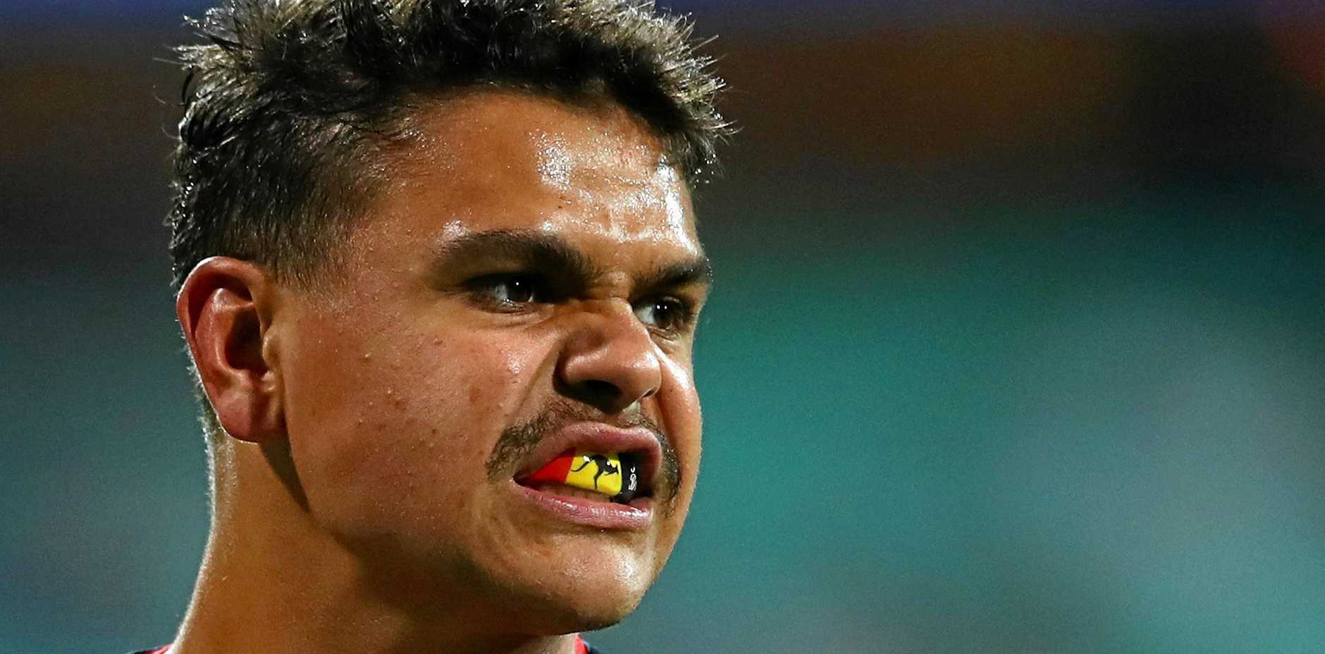 Latrell Mitchell will line up at N0.6 in the Anzac Day blockbuster at the SCG.