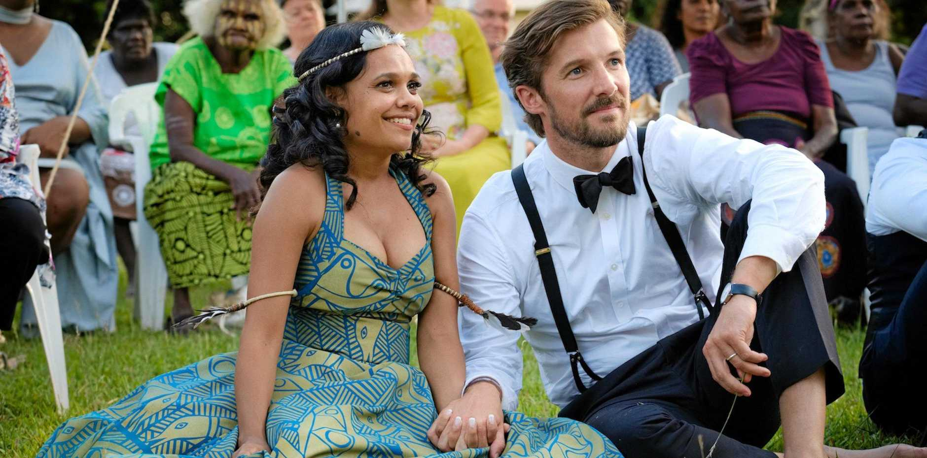 Miranda Tapsell and Gwilym Lee in a scene from Top End Wedding. Supplied by Universal Pictures.