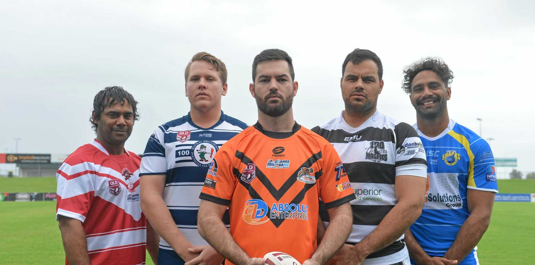 ROUND ONE READY: (left to right) MDRL A-Grade players: Basil Martin (Carltons), Shaun Edwards (Brothers), Jake Eden (Wests), Tyson Martin (Magpies) and Schae Mawer (Souths).