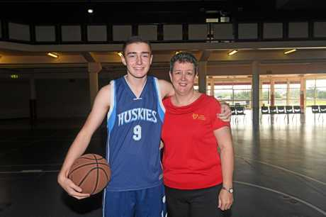 Gympie Basketball Brandon Albrecht and his proud mum, Gympie Basketball president Jennifer Albrecht.