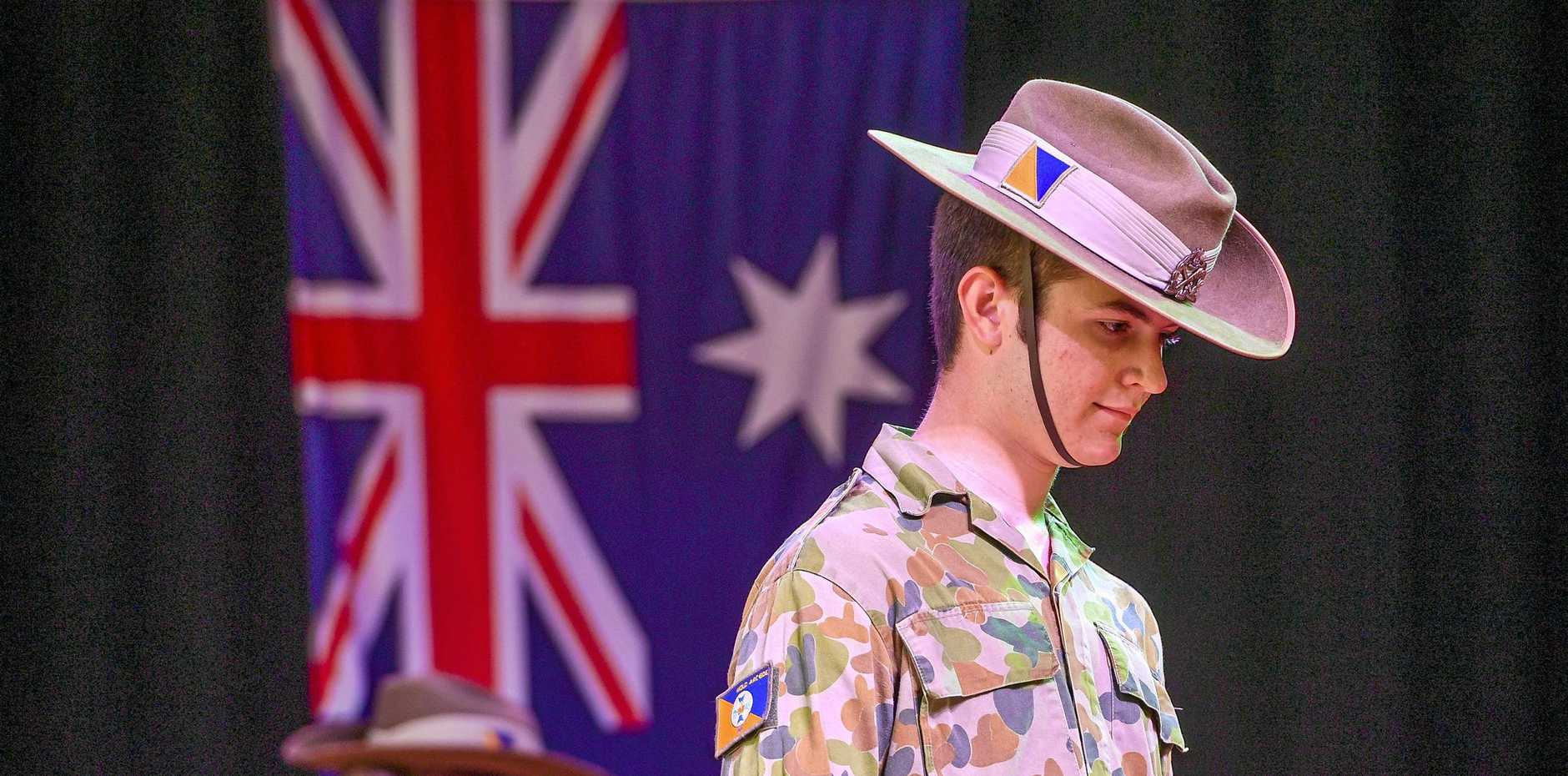 Cdt Thomas Clark at Gladstone State High School's Anzac day ceremony, 2019 for senior students.