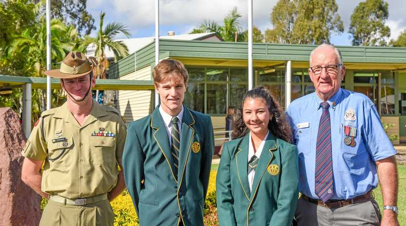 DAY OF REMEMBERANCE: Warrant Officer David Squires of the 2nd Combat Engineers Regiment, Burnett State College captains Callum Evans and Jovy Griffin, and president of Gayndah RSL Sub Branch Boyd Baker.