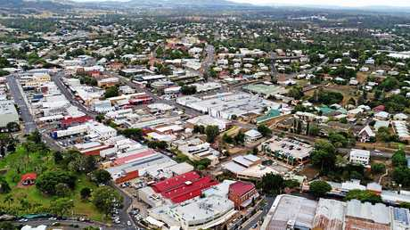 An aerial shot of the Gympie CBD