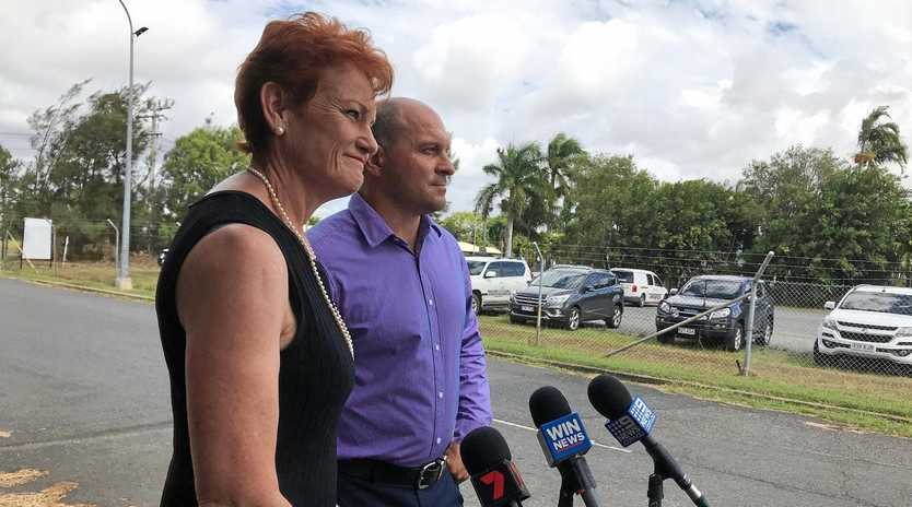 STRATEGY: One Nation Senator Pauline Hanson and Capricornia candidate Wade Rothery discussing the 2019 election campaign.