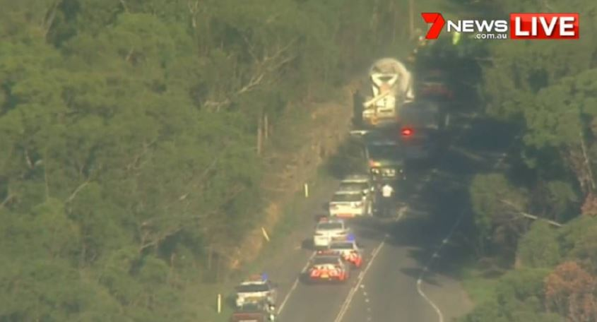 A driver died in the crash at Sandy Point. PHOTO: 7 News