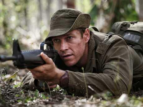 Actor Luke Bracey is shown mid-battle as Sergeant Bob Buick. Photo: Jasin Boland