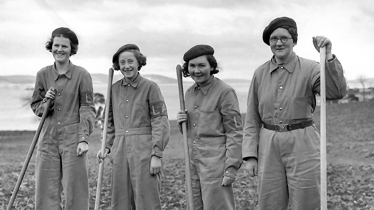 The Women's Land Army members in Hobart, Tasmania, 1940. Picture: News Corp Australia