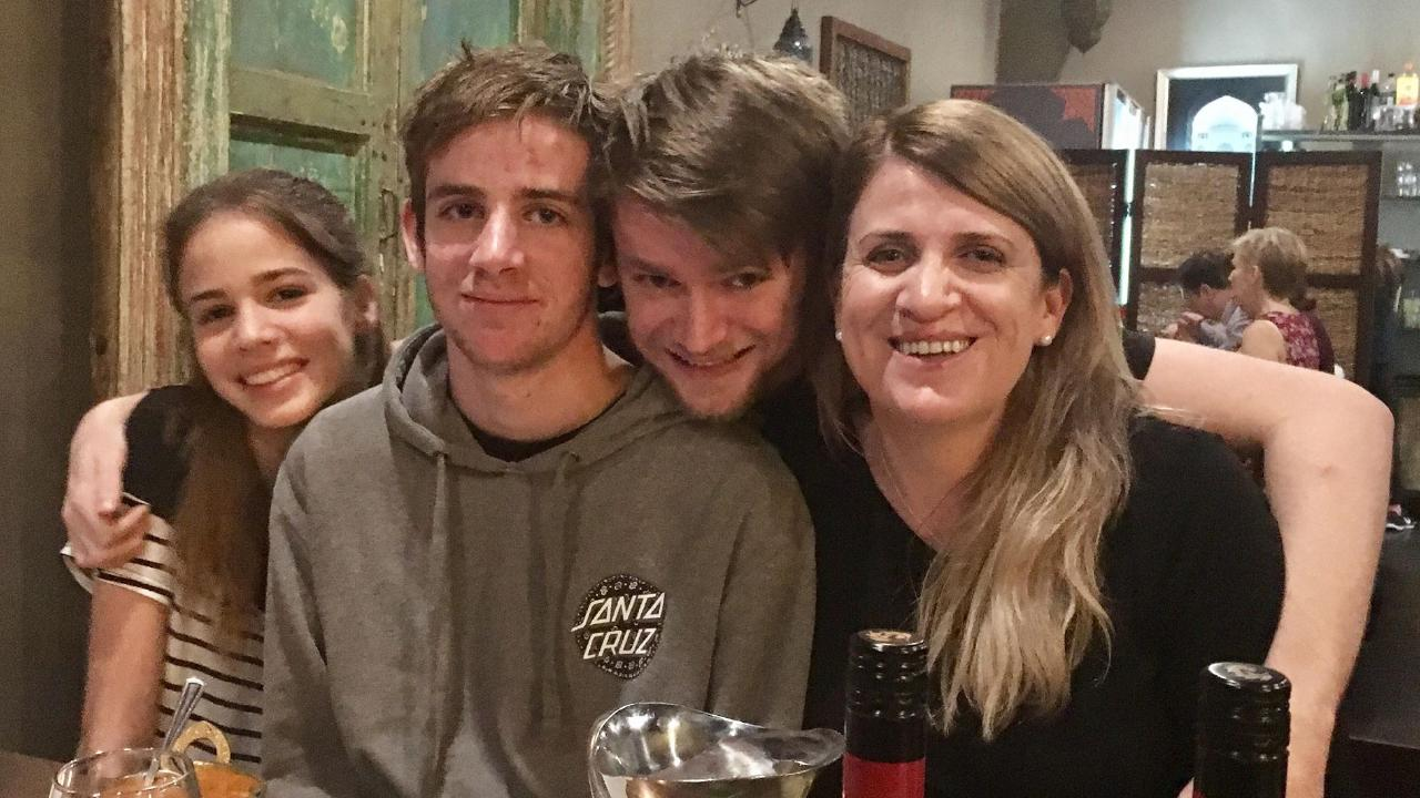 Liam Wolf with his mother Susan Devine and siblings Izaak, 21, and Alanah, 15.