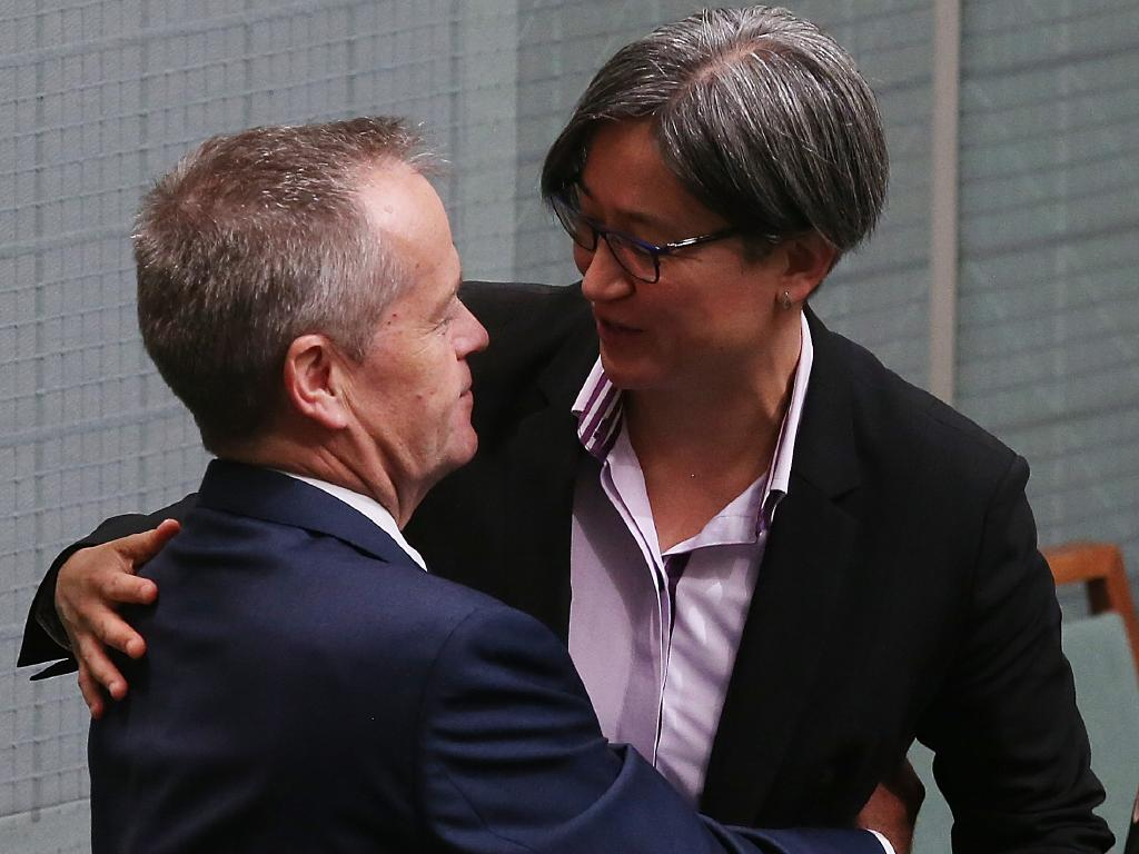Bill Shorten and Penny Wong are close friends as well as colleagues. Picture: Kym Smith