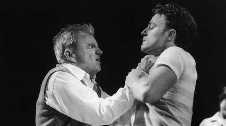 Actors Max Cullen and Nathaniel Dean in Sydney Theatre Company play The One Day of the Year in 2003. Picture: Tracey Schramm