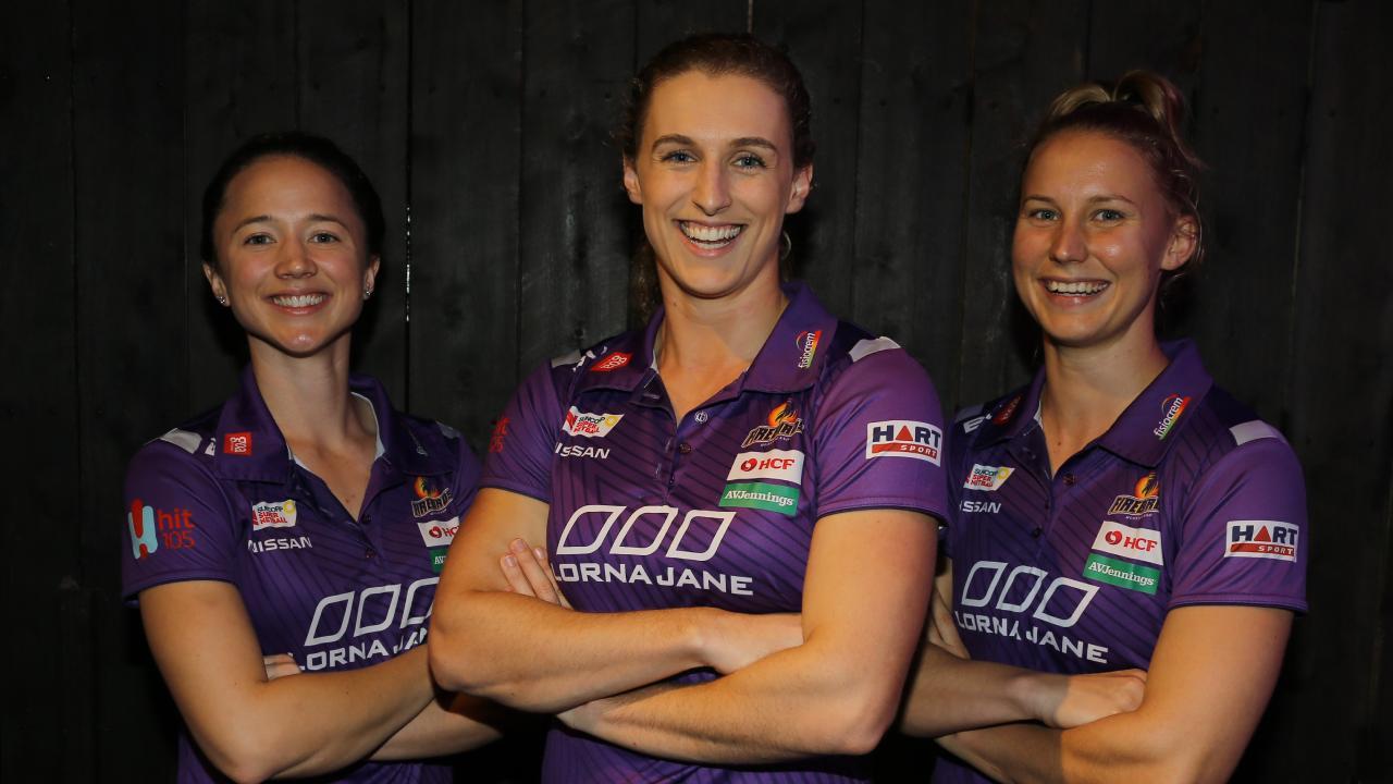 Queensland Firebirds Caitlyn Nevins, Gabi Simpson and Mahalia Cassidy. Picture: AAP/David Clark