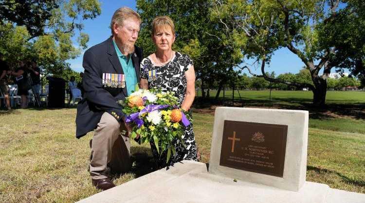 Barbara Hamilton and her husband Ian David Hamilton lay a wreath for her World War I hero grandfather Cecil Northover at the Gardens Cemetery. Picture: Keri Megleus