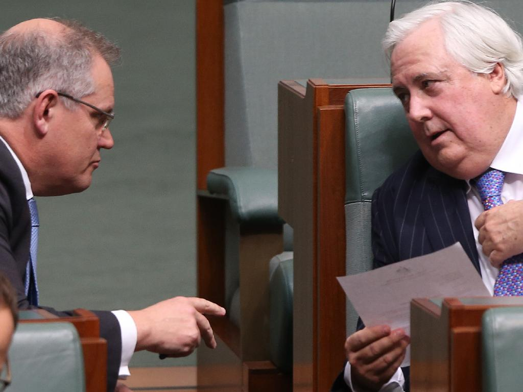 Clive Palmer with Scott Morrison during Question Time. Picture: Gary Ramage