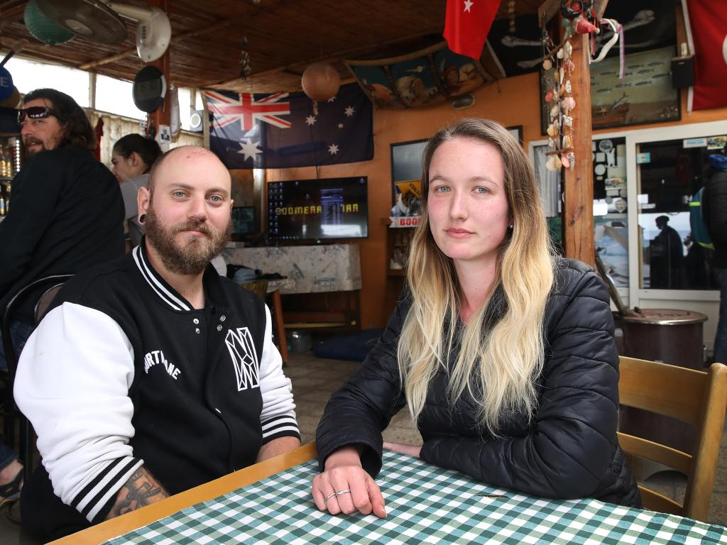 Joel Mackellar, 32, and Sherissa Bradshaw, 26, from Brisbane at the Boomerang cafe in Eceabat, Turkey. They are shocked by news of an arrest of a suspected terrorist. Picture: Ella Pellegrini