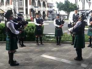 Bagpies at the Mackay Anzac Day march