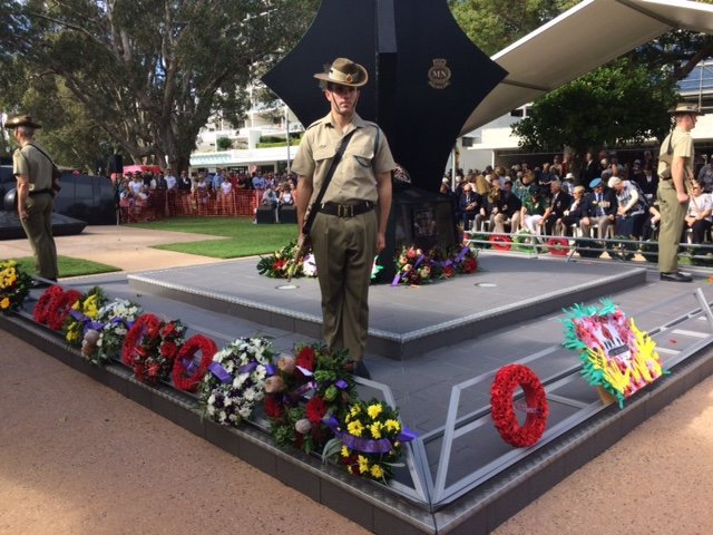 A soldier stands proudly at the Cotton Tree Anzac Day morning service.