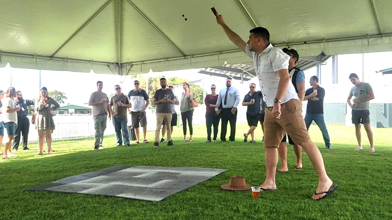 The ANZAC tradition of two-up was honoured at Harrup Park as a crowd of 50 gathered in the tent to place their bets.
